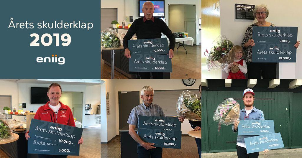 Modtagerne af Årets skulderklap 2019. Øverst Søren Ahm og Karen Bang, nederst Poul Helge Andersen, Jens Orla Nielsen og Kristian Johannesen (på vegne af Heidi Larsen).