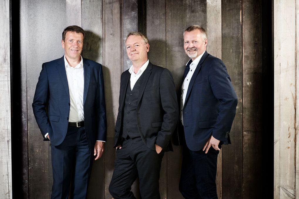 Økonomidirektør Gert Vinther Jørgensen, adm. direktør Niels Duedahl og viceadm. direktør Martin Romvig