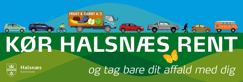 Kampagnestreamer for Kør Halsnæs Rent.