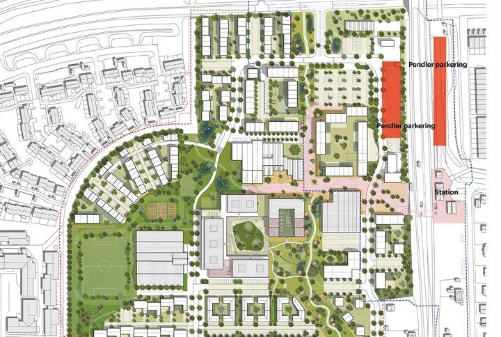 I højre hjørne er de 55 nye pendlerparkeringspladser vest for banen markeret med rødt. Øst for banen er de eksisterende pladser også markeret med rødt.