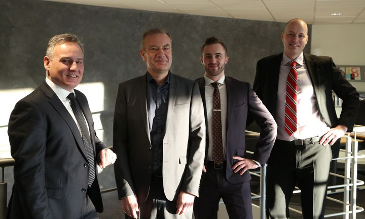 Fra venstre: Benny Buchardt Andersen, CEO i DEAS Asset Management, Kent Traulsen, chef for DEAS Asset Managements development team, Christopher Elgaard Jensen, Head of Investment Management, og Michael Brogaard Rønnelund, Head of Asset Management.