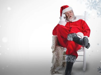 Julemanden venter ved telefonen