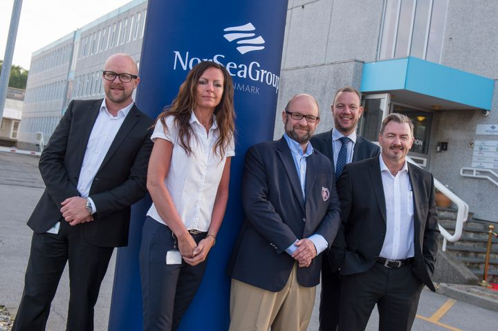 NorSea Group Denmarks ledelsen, fra venstre COO Jesper Høj-Hansen, CHRO Lena Broholm Hansen, CEO for NorSea Group John Stangeland, CFO Jan Thim, CEO NorSea Group Denmark Jørn Bue Madsen