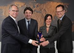 "YFAI honored the Belgian company Total Research & Technology Feluy with a ""Supplier of the Year award"". From left to right: James Bos, Vice President Global Procurement at YFAI, Tim Mortiers, Global Sales & Marketing Manager PP Automotive at Total and Caroline Schills, Technical Manager at Total and Gunnar Buechter, Executive Director Procurement and Strategy Europe and South Africa at YFAI. Editorial use of this picture is free of charge."